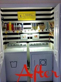 my completely free laundry room makeover, home decor, laundry rooms, Black stripes using leftover paint from my front door