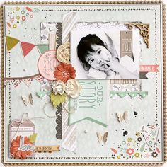 """""""Just You"""" Layout by Kaori Fujimoto Products: Bow & Arrow - Sunrise Rain Paper pad Sticker sheet Collectables Blooms – Coconut Pearls – Pearl Flourish Pack – Banners Crochet Doilies – Vintage Flourish Pack Fancy Scrapbook Blog, Baby Scrapbook, Scrapbook Albums, Scrapbooking Layouts, Scrapbook Paper, Remembering Mom, Bow Arrows, Creative Memories, Layout Inspiration"""