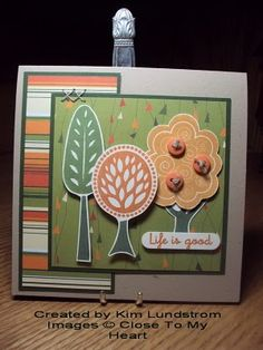 Close to My Heart card. Stamps: Tree Tops. Inks; New England Ivy, Goldrush, Autumn Terra Cotta. Kraft cardstock. Paper: SEI Nutmeg collection. CTMH Cardstock: Colonial White, New England Ivy CS. SU Word Window Punch, Linen Thread. Buttons: Lasting Impressions.