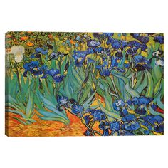 Print+of+Van+Gogh's+Irises+on+canvas.+  Product:+Wall+artConstruction+Material:+Cotton+canvas+and+wood...