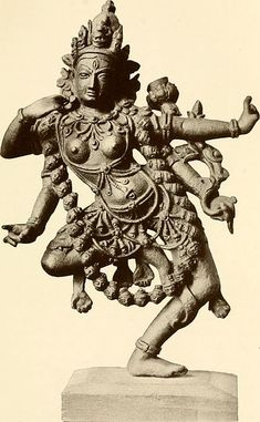Kali sculpture from Calcutta Art Gallery, 1913. Kali is portrayed mostly in two forms: the popular four-armed form and the ten-armed Mahakali form. In both of her forms, she is described as being black in colour but is most often depicted as blue in popular Indian art.