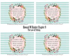 Howard w Hunter Lesson 9- The Law of Tithing-handout #mimileeprintables #lds #reliefsociety #howardwhunter #lessonhelps #chapter9 #tithing #lawoftithing