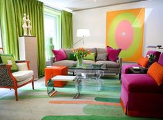 long green drapes...funky pink chairs