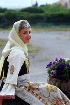 Greece - Girl from Megara in traditional dress. Greek Traditional Dress, Traditional Outfits, Ancient Greek Costumes, Greece Girl, Mediterranean People, Art Populaire, Greek Culture, Folk Costume, People Of The World