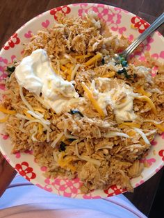 Crockpot Awesome Chicken:  2lb chicken, one packet ranch seasoning and one packet taco, 1 cup broth: cooked for a few hours and then threw it in the mixer to shred it.