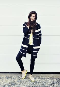Street Style - Stripes & Sneakers - monstylepin #fashion #streetstyle #outfit #stripes #sneakers #trend #style