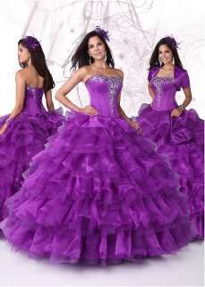 Custom Purple Wedding Dress Quinceanera Bridal Gown Ball Pageant Party