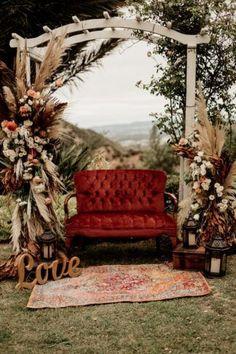 Outdoor Wedding Reception, Outdoor Weddings, Wedding Ceremony, Rustic Bohemian Wedding, Burgundy Wedding Colors, Boho Beautiful, Outdoor Wedding Decorations, Elopement Wedding, Red Wedding