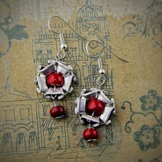 Handmade Earrings from Nespresso capsules Coral gemstone Will be supplied with unique package box. серьги ручной работы из капсул Неспрессо