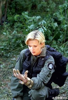 Amanda Tapping with state-of-the-art Goa'uld technology.