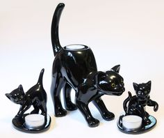 Partylite Black Cat Set Tealight Candle Holder Halloween Decor Fall 3 Lot Large