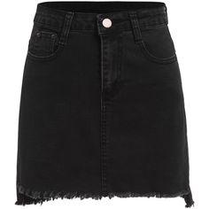 Black Raw Hem Denim Skirt (51 RON) ❤ liked on Polyvore featuring skirts, mini skirts, bottoms, saias, black, stretch denim skirt, bodycon skirt, stretch skirts, denim bodycon skirt and stretchy mini skirts