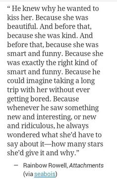 He knew why he wanted to kiss her...