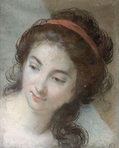 Elisabeth Louise VIGEE LE BRUN (Paris 1755 - 1842) Portrait d'une femme portant un ruban rouge dans les cheveux Pastel sur papier bleu 30 x 25 cm Signé en bas à droite L. Lebrun (Usures) Nous pouvons rapprocher… - Pescheteau-Badin - 18/12/2015