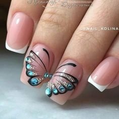 Butterfly nail art designs are loved by women because of its cute, colorful, beautiful patterns and symbolic significance, or simply because the design of butterfly nails has produced attractive effects on nails. Beautiful Nail Art, Gorgeous Nails, Perfect Nails, Pretty Nails, Butterfly Nail Designs, Butterfly Nail Art, Nail Art Designs, Nails Design, Nail Decorations