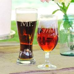 Mr. & Mrs. Pilsner Beer Glass Set- great for wedding gift! @Lacey Warren  these might be in your future. ;)