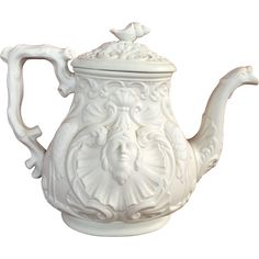 19C Salt Glaze Molded Teapot Nautical Relief from chappy on Ruby Lane