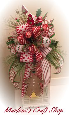 Gingerbread tree topper bow,Christmas tree topper bow, gingerbread lantern swag…