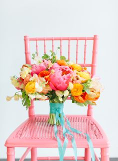 Pink, orange and yellow color bouquet