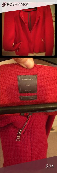 Gap blazer - bright red Funky style red jacket, easy to add to business casual outfit. Bundle 20% off! Zipper front and pockets. Edges of fabric are frayed by design and makes jacket a bit edge-y GAP Jackets & Coats Blazers