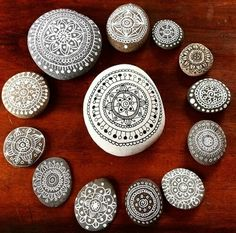 Painted rocks~ Easier &more sensible than crocheting around them!