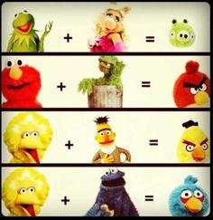 Angry Birds and Sesame Street hybrids.
