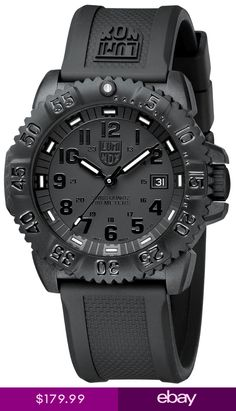 4cac455a3c833 Luminox Evo Navy Seal Blackout Mens Watch Black carbon-reinforced polymer  case with a black rubber strap. Black dial with luminous hands and black  Arabic ...