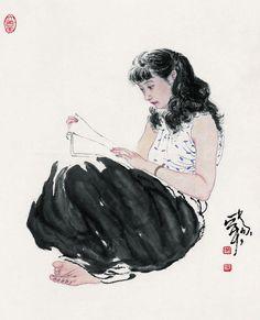 Art by He Jiaying - Rosie Chuong Japanese Prints, Japanese Art, Illustrations, Illustration Art, Scientific Drawing, Tinta China, Water Art, China Art, Art Studies