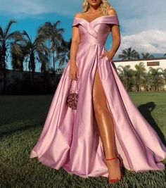 Pink off shoulder satin prom dress prom evening dress off shoulder prom dresses african prom dress evening dresses bespoke prom dresses Pink Formal Dresses, Pretty Prom Dresses, Cheap Prom Dresses, Prom Party Dresses, Party Gowns, Ball Dresses, Homecoming Dresses, Dress Formal, Pink Gowns