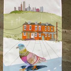 Pigeon on a Mission tea towel by Betsy Olmsted