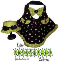 Retro Rockabilly Dog Harness Sun Dress & Hat by MissDaisyDesignsShop, Etsy. PDF Sewing pattern for furgirl fashionistas.