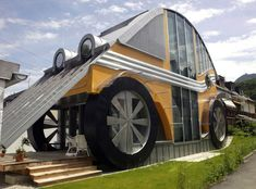 A car-shaped dwelling, built for a family of four, by <span>architect Manfred Voglreiter, </span>in the town of Langwied, in the Austrian Salzburg province, on June 23, 2004.