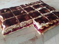 meggyes mascarpone-s sütemény, édes és savanykás sütemény piskótával, recept fázisfotókkal, Kocsis Hajnalka receptje