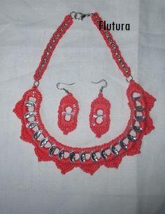 collana e orecchini fatte con linguette di lattina (la mia creazione)