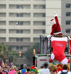 Santa at the folly beach christmas parade