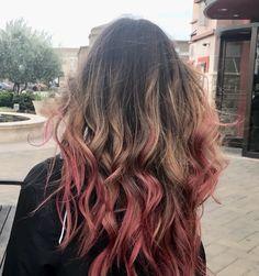 pink balayage, rose hair, dip dye