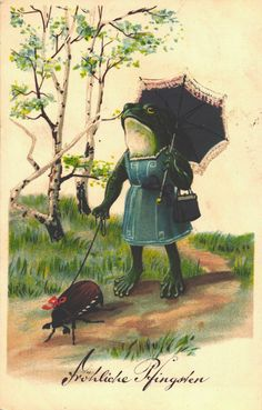 Just walkin' ma maybug Frog Pictures, Weird Pictures, Vintage Pictures, Woodland Illustration, Frog Illustration, Frog Drawing, Funny Frogs, Frog Art, Frog And Toad