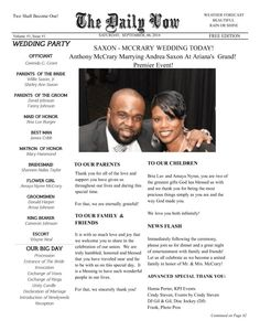 Best Wedding Engagement Newspaper Templates Images On Pinterest - Wedding newspaper program template