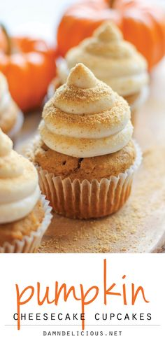 Pumpkin Cheesecake Cupcakes - With a surprise cheesecake filling and graham cracker crumb topping, these are sure to impress your guests!