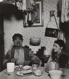 Bill Brandt, History, Photography, Photojournalist, Documentary, Title: Northumbrian Miner at His Evening Meal. 1937