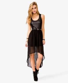 Faux Leather Chiffon High-Low Dress | FOREVER21 - 2027198539