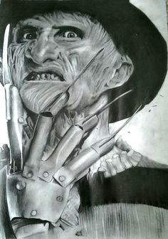 One, two, Freddy's coming for you!  My drawing of the one and only Freddy Krueger!
