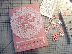 21.レースペーパーを使ってお花いっぱいのカードの画像 | 簡単手作りカード Chocolate Card Factory
