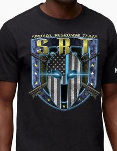 The Special Response Team shirt represents the special tactics unit that comes through in clutch situations when their specialties are needed. With a unique American graphic to distinguish their presence, this shirt will make every SRT unit proud to be among the elite groups in law enforcement! Comes in a standard black color.  Our police tees are printed on USA Made cotton shirts and printed in our facilities in Dallas, TX. Shirts for the Thin Blue Line!