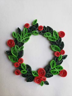Christmas Wreath Paper Quilling Christmas decorations Quilled wreath Ornaments Christmas Wreath Paper Quilling by QuillWhileYoureAhead on Etsy