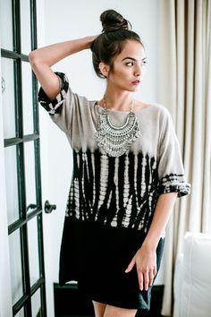 Tiedye 3/4 Sleeve Jersey Shift Dress - Ivory - fab'rik - Women's Designer Clothing