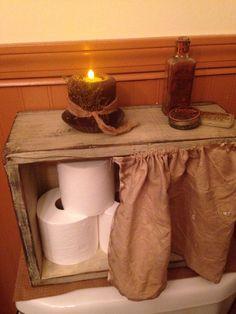 Primitive Cubby Box With Grungy Curtain - Home Design Ideas Primitive Country Bathrooms, Primitive Bathroom Decor, Primitive Homes, Prim Decor, Primitive Furniture, Primitive Crafts, Country Primitive, Rustic Decor, Farmhouse Decor