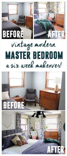 Vintage Modern Master Bedroom Bedroom Before and After www.BrightGreenDo...