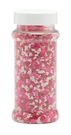 ... cake versierd met rode, roze en witte suikerhartjes, of sprinkel de