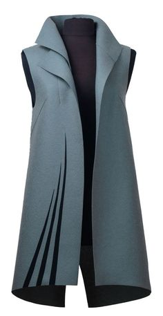 Feather by Teresa Maria Widuch (Wool Vest - Leilanie Janse van Rensburg- Wool Vest, Vest Jacket, Hijab Fashion, Fashion Dresses, Couture Fashion, Stephane Rolland, Fashion Sewing, African Fashion, Blouse Designs